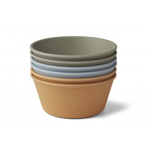 Greta Bamboo Bowl 6-pack Blue Multi Mix