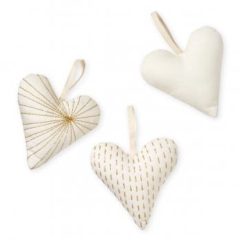 Decorative Hearts Set of 3 - Cream White