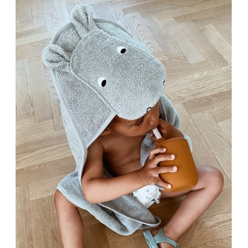 Hippo Hooded Towel Dove Blue - Augusta
